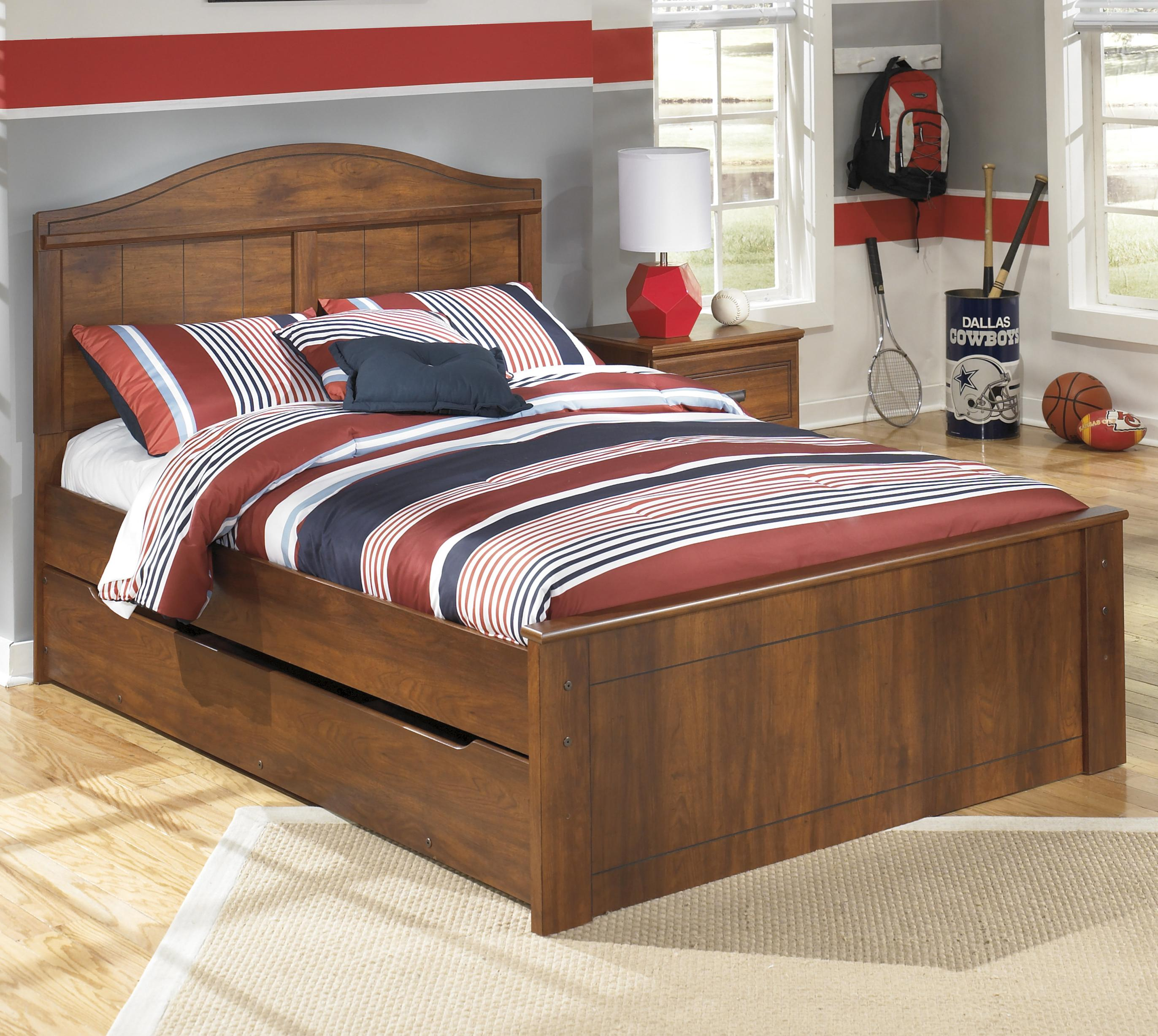 Full Panel Bed with Trundle Storage Unit