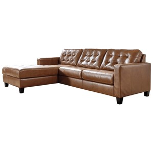 Leather Match 2-Piece Sectional with Chaise and Tufting