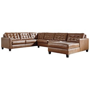 Leather Match 4-Piece Sectional with Chaise and Tufting
