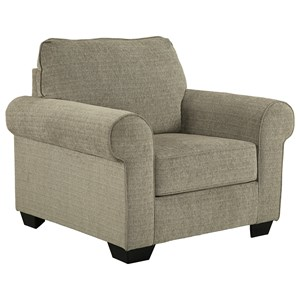 Chair with Large Rolled Arms & Chenille Fabric