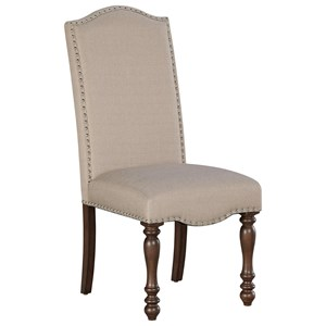 Traditional Dining Upholstered Side Chair with Turned Legs