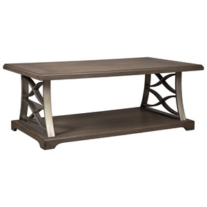 Wood and Metal Rectangular Cocktail Table with Open Shelf
