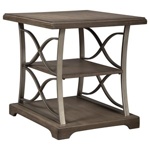 Wood and Metal Rectangular End Table with 2 Shelves
