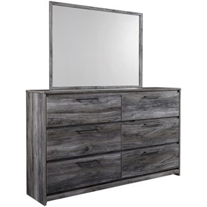 Contemporary 6 Drawer Dresser and Mirror