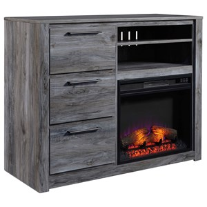 Contemporary Media Chest with Fireplace Insert