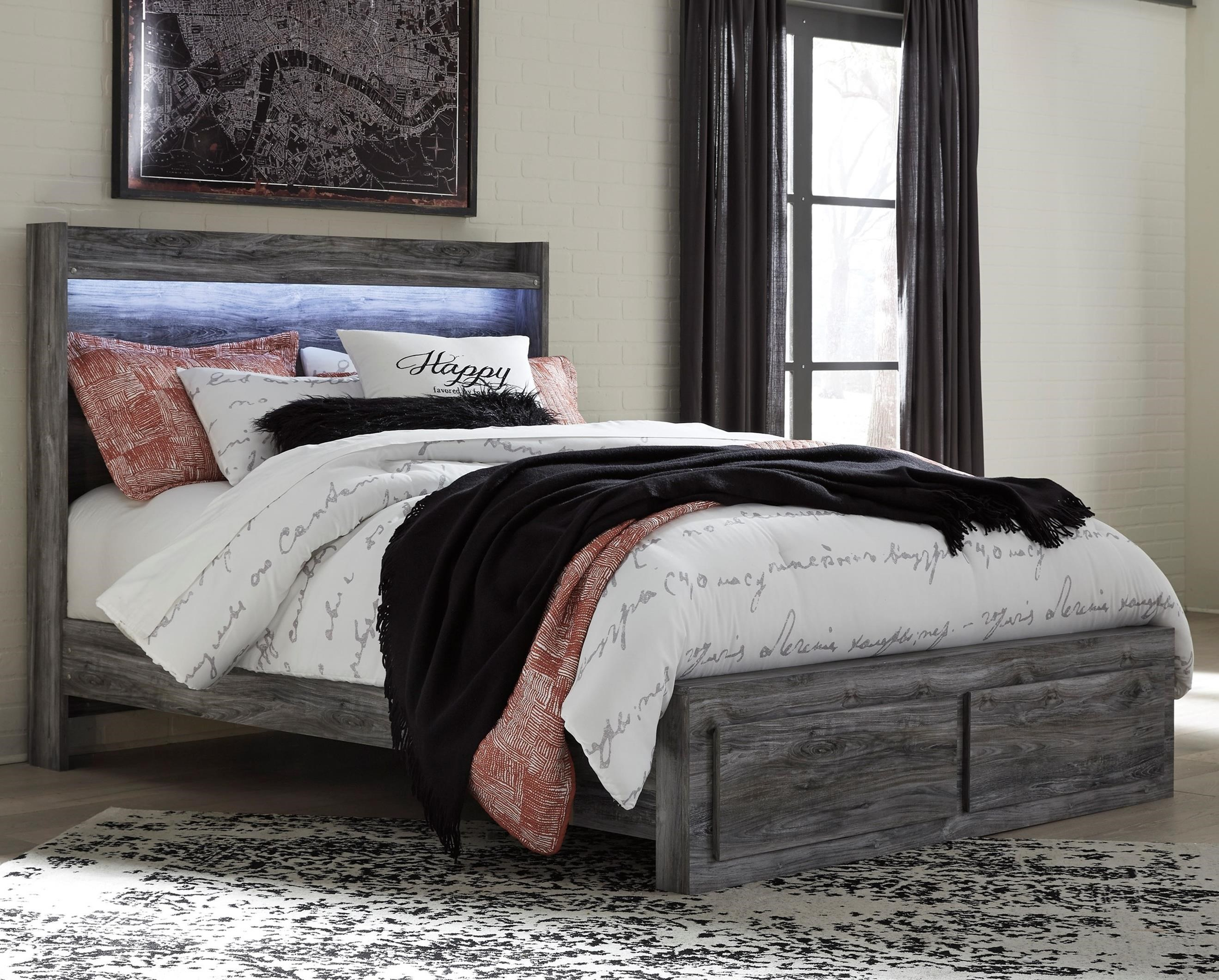 Baystorm Queen Panel Bed with Storage Footboard by Signature Design by Ashley at Rife's Home Furniture