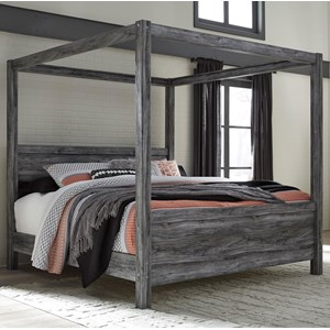 King Canopy Bed in Gray Finish
