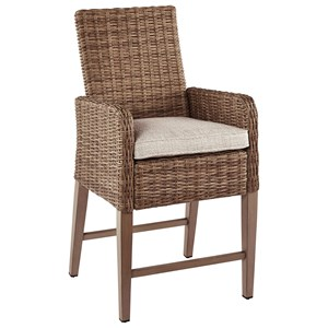 Set of 2 Outdoor Barstools with Cushions
