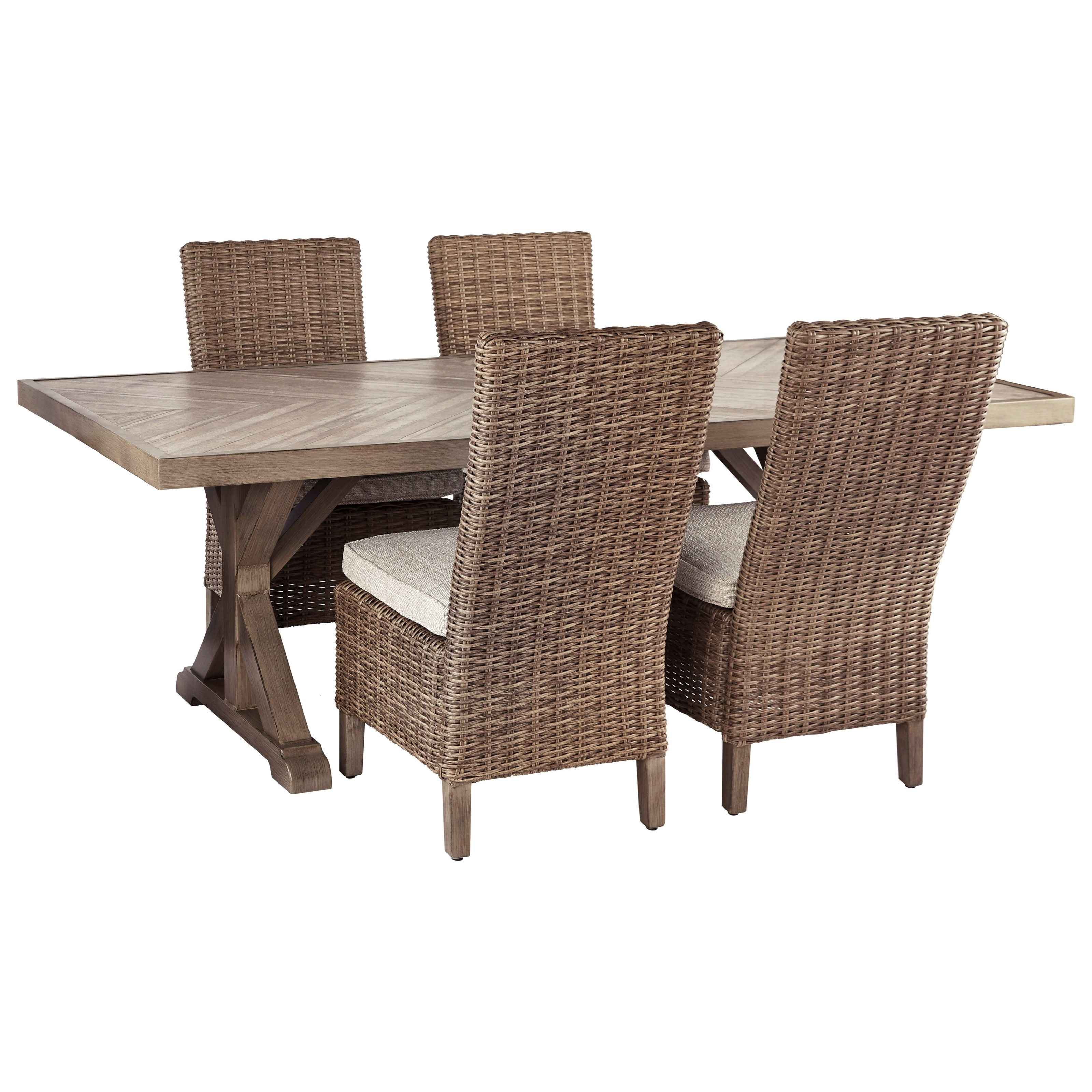 Beachcroft 5 Piece Outdoor Dining Set by Signature Design by Ashley at Miller Waldrop Furniture and Decor