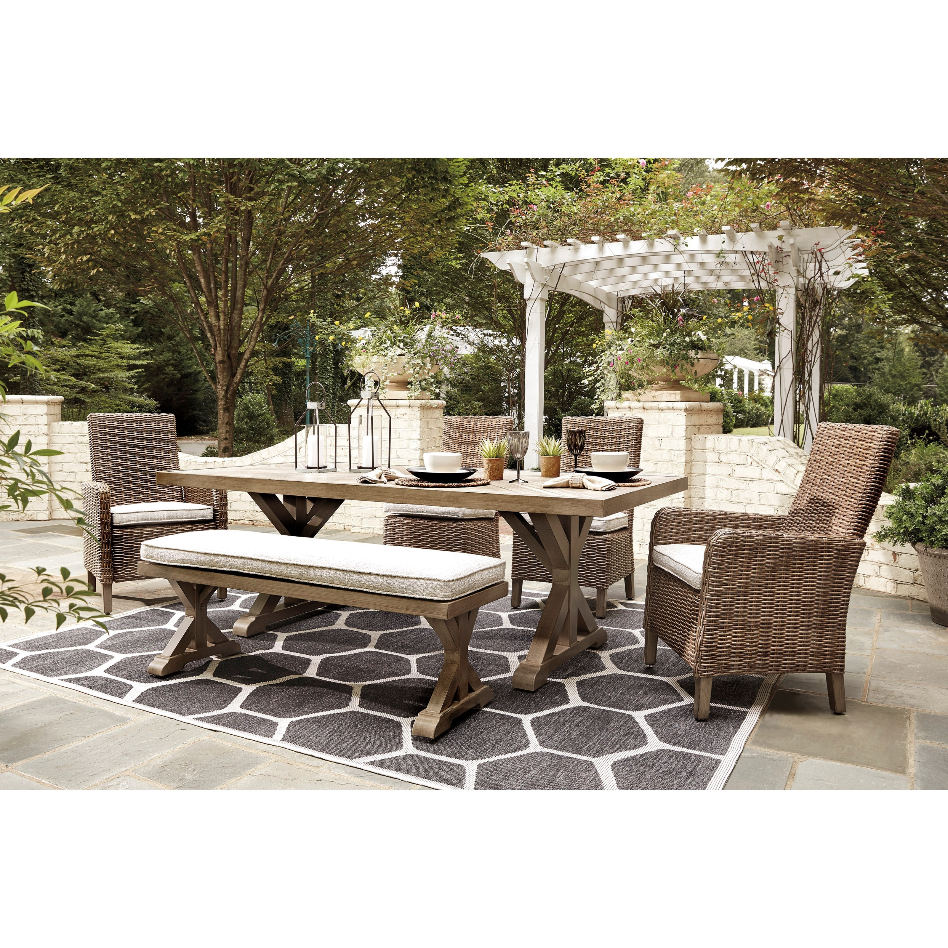 Beachcroft 6 Piece Outdoor Dining Set by Signature Design by Ashley at Household Furniture