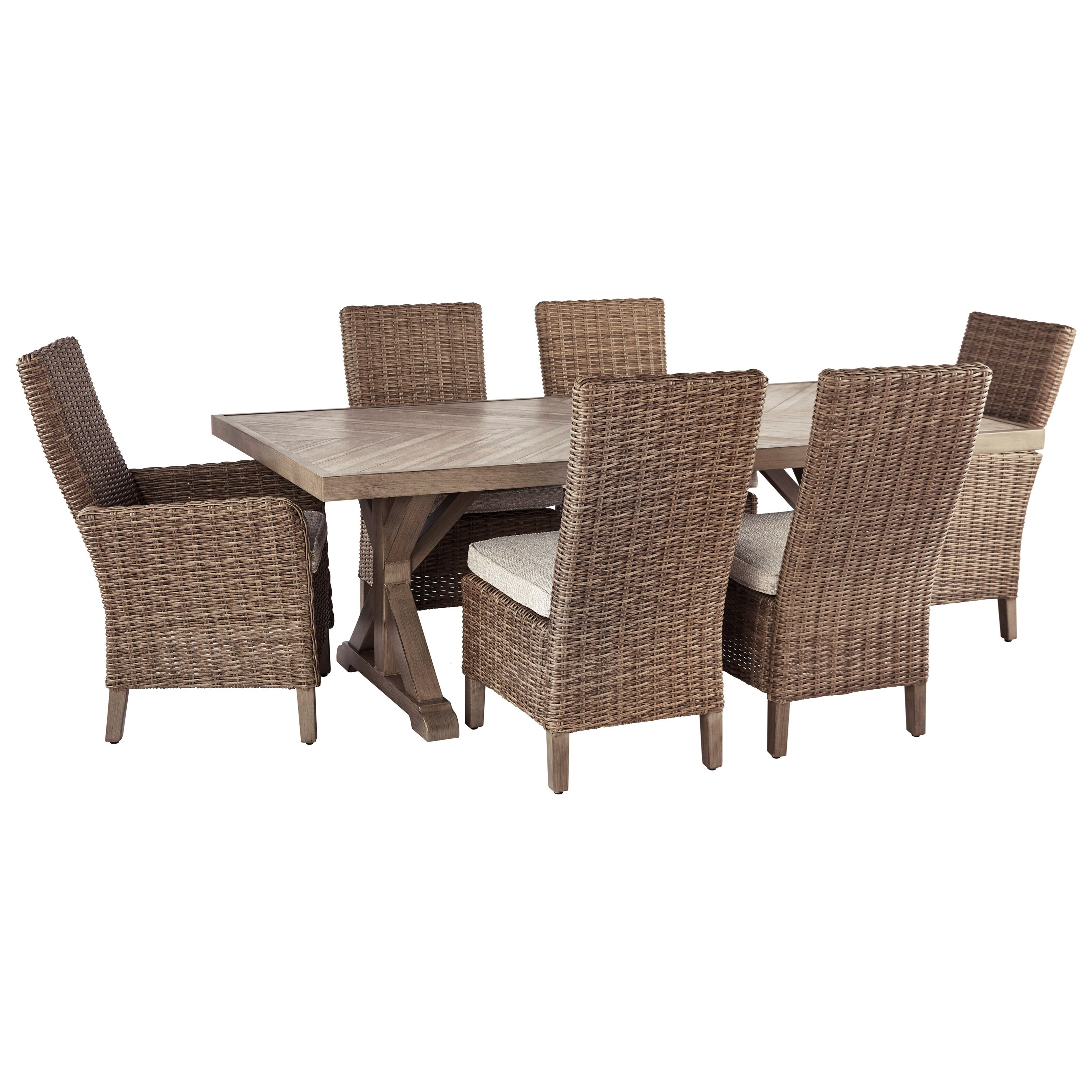 Beachcroft 7 Piece Outdoor Dining Set by Signature Design by Ashley at Household Furniture