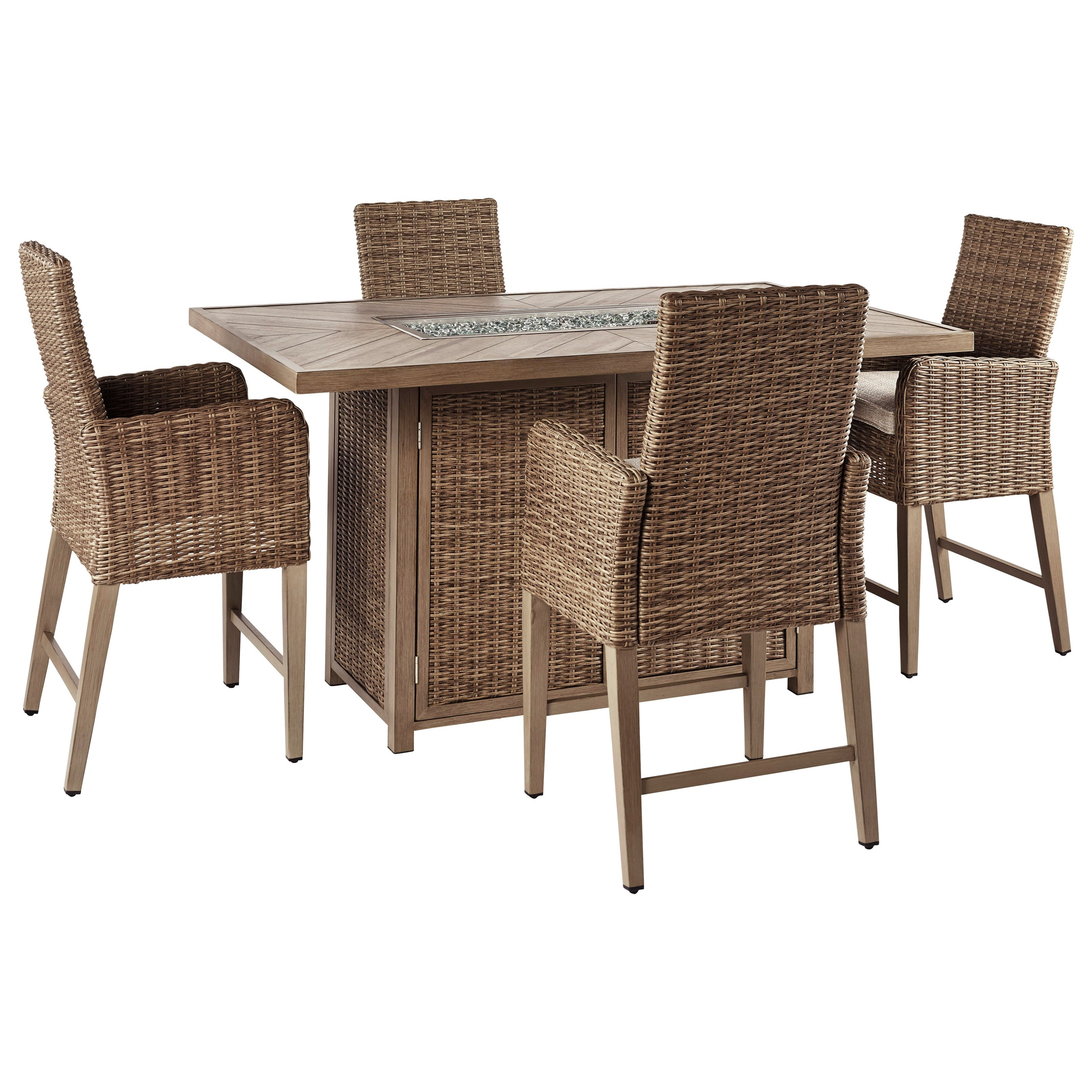 Beachcroft 5 Piece Outdoor Bar Fire Pit Table Set by Signature at Walker's Furniture