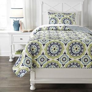 Signature Design by Ashley Bedding Sets Twin Danesha Blue/Green Coverlet Set