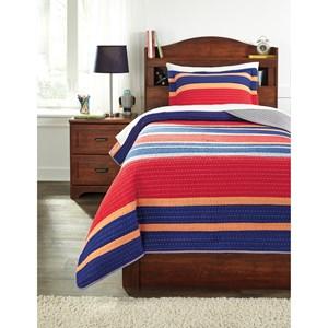 Signature Design by Ashley Bedding Sets Twin Damond Multi Quilt Set