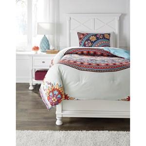 Signature Design by Ashley Bedding Sets Twin Amerigo Pink/Aqua/Orange Comforter Set