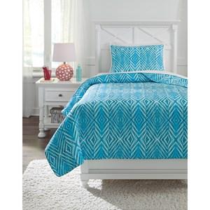 Twin Jolana Turquoise Quilt Set