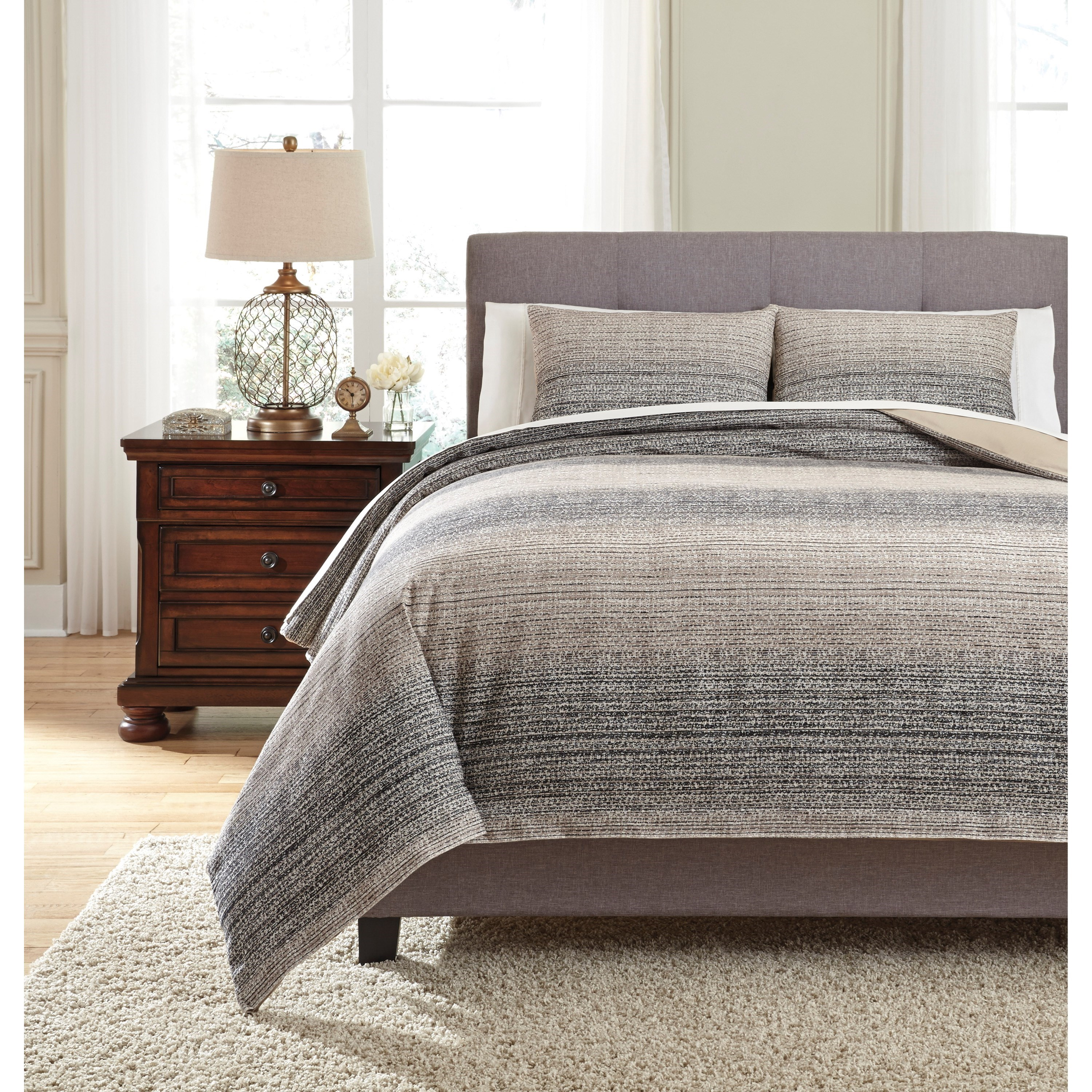 Bedding Sets King Arturo Natural/Charcoal Duvet Cover Set by Signature Design by Ashley at Sparks HomeStore