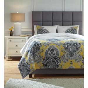 Signature Design by Ashley Bedding Sets King Maryland Gray/Yellow Comforter Set