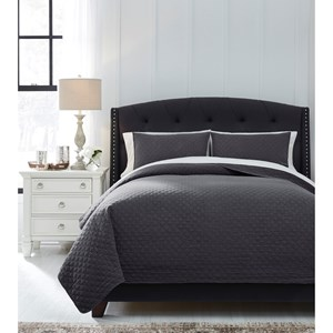 Queen Ryter Charcoal Coverlet Set