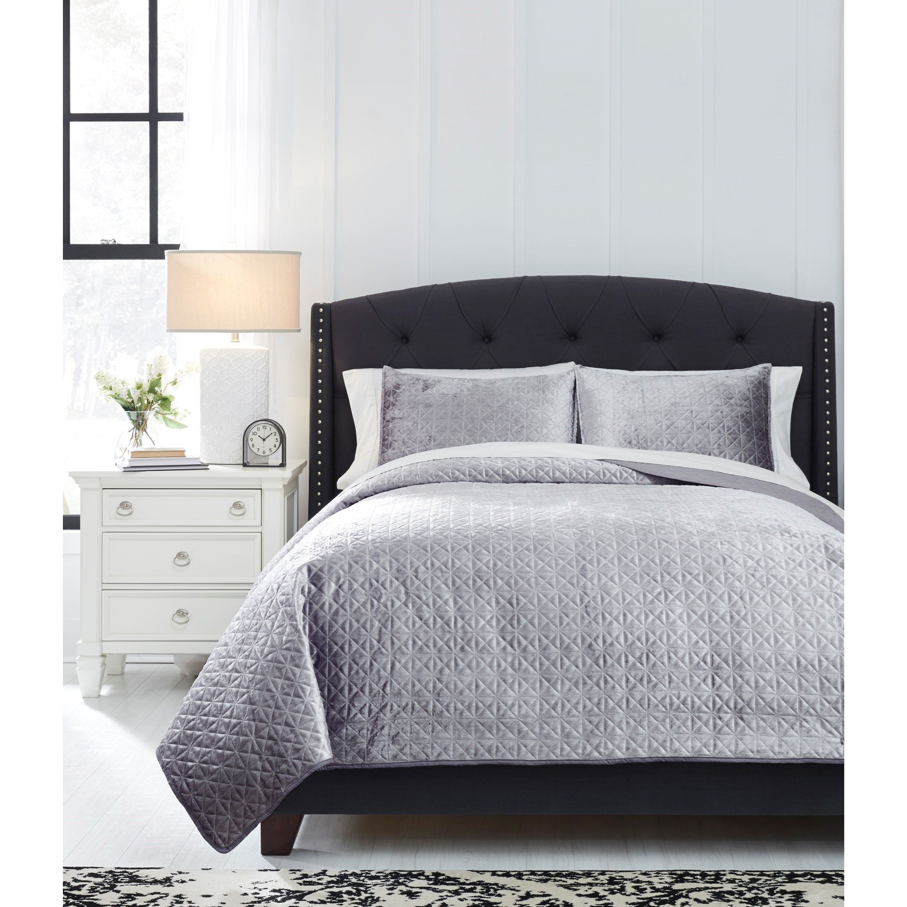 Bedding Sets King Maryam Gray Coverlet Set by Ashley (Signature Design) at Johnny Janosik