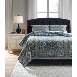 Signature Design by Ashley Bedding Sets King Myrtal Blue/Teal Quilt Set