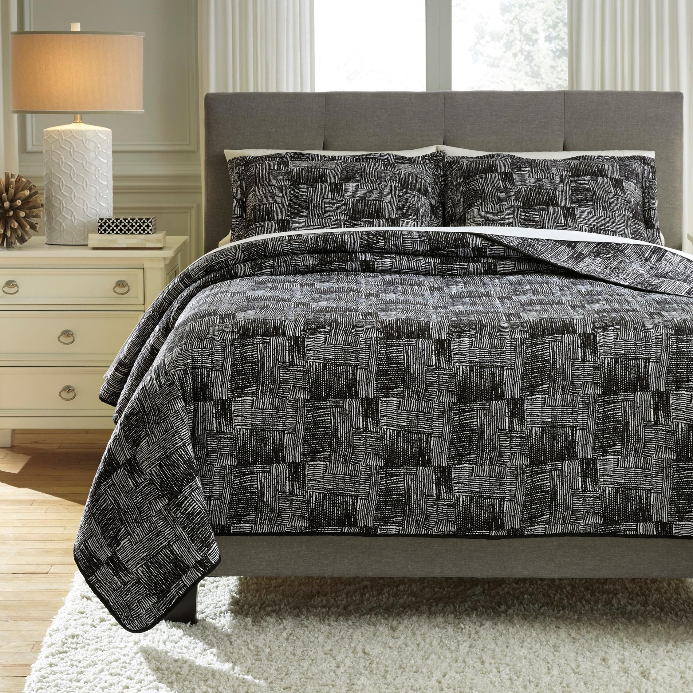 Bedding Sets Queen Jabesh Black Quilt Set by Signature Design by Ashley at Zak's Warehouse Clearance Center