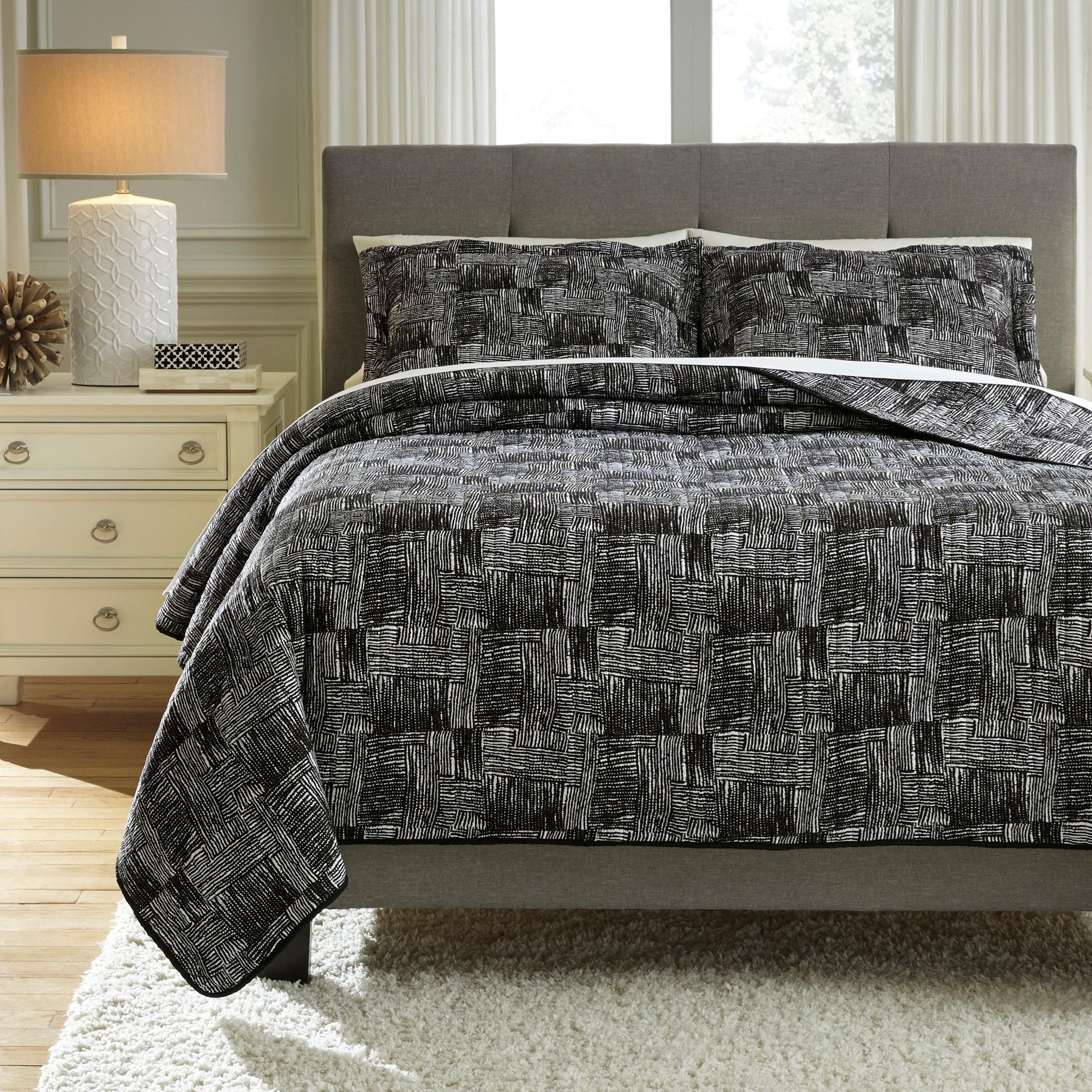 Bedding Sets Queen Jabesh Black Quilt Set by Signature Design by Ashley at Sam Levitz Furniture