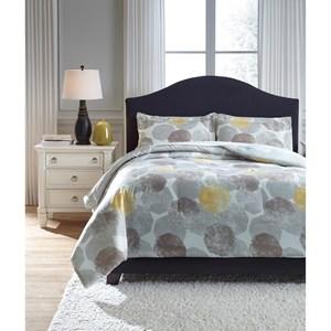 Signature Design by Ashley Bedding Sets King Gastonia Gray/Yellow Comforter Set