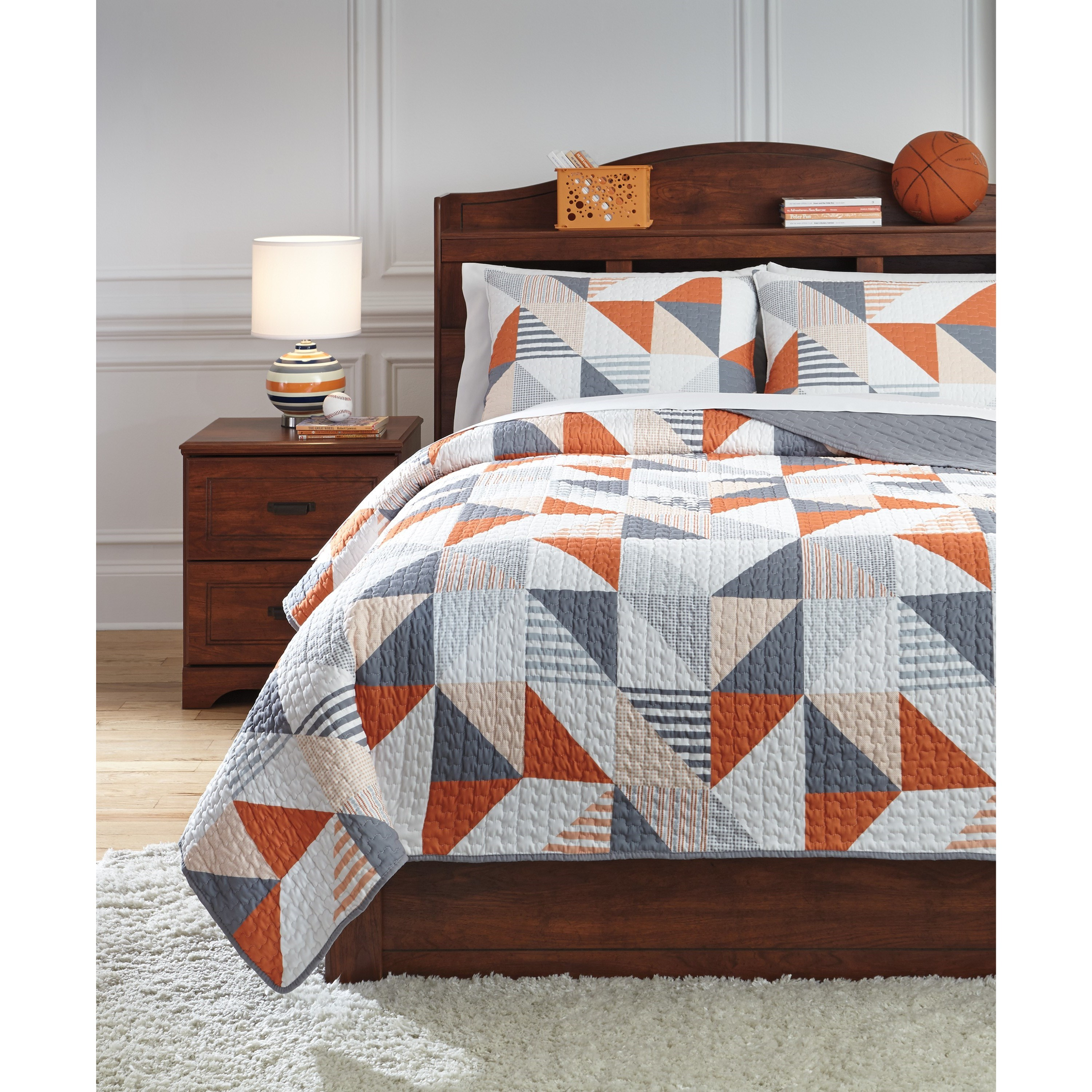 Bedding Sets Full Layne Gray/Orange Coverlet Set by Signature Design by Ashley at Northeast Factory Direct