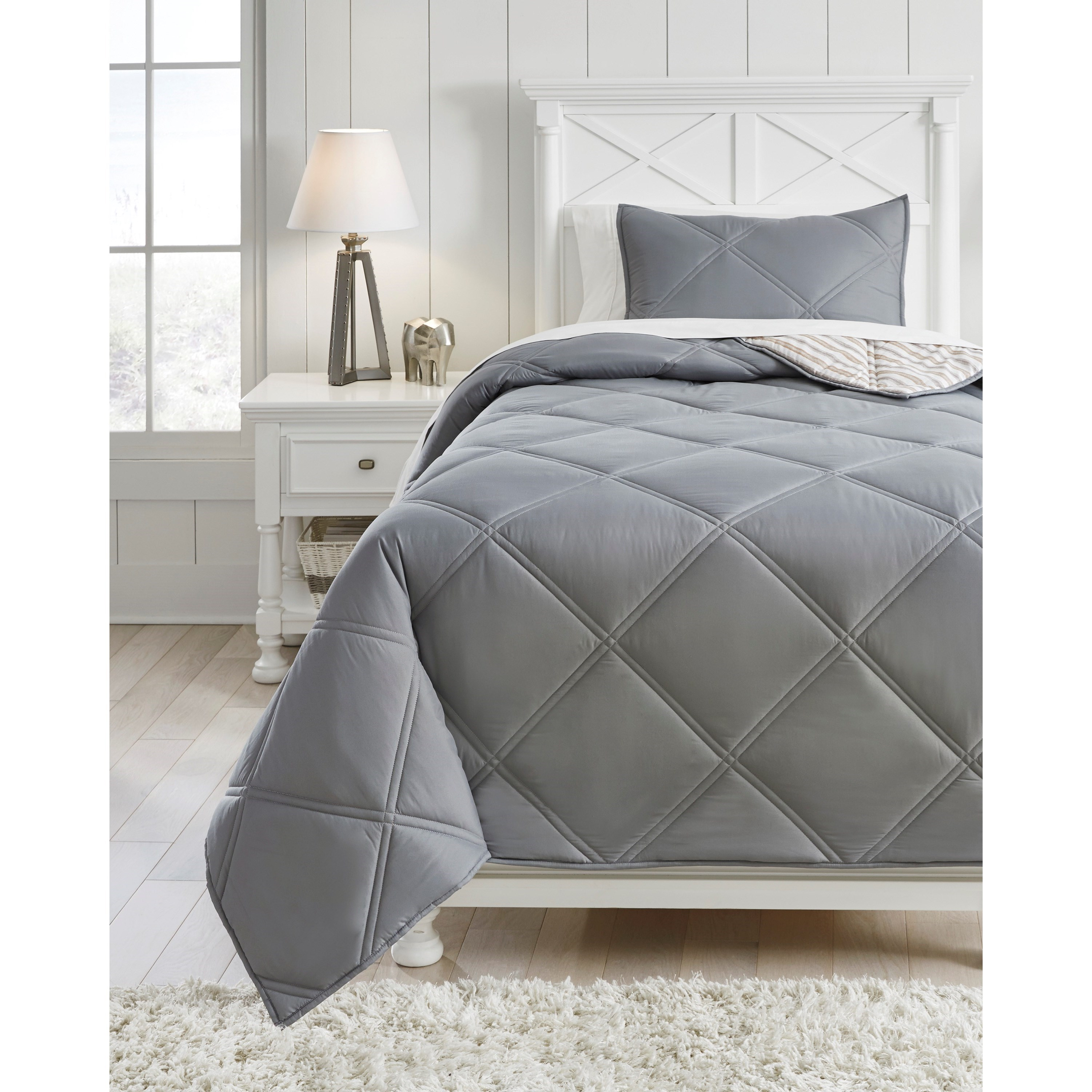 Bedding Sets Twin Rhey Tan/Brown/Gray Comforter Set by Ashley (Signature Design) at Johnny Janosik