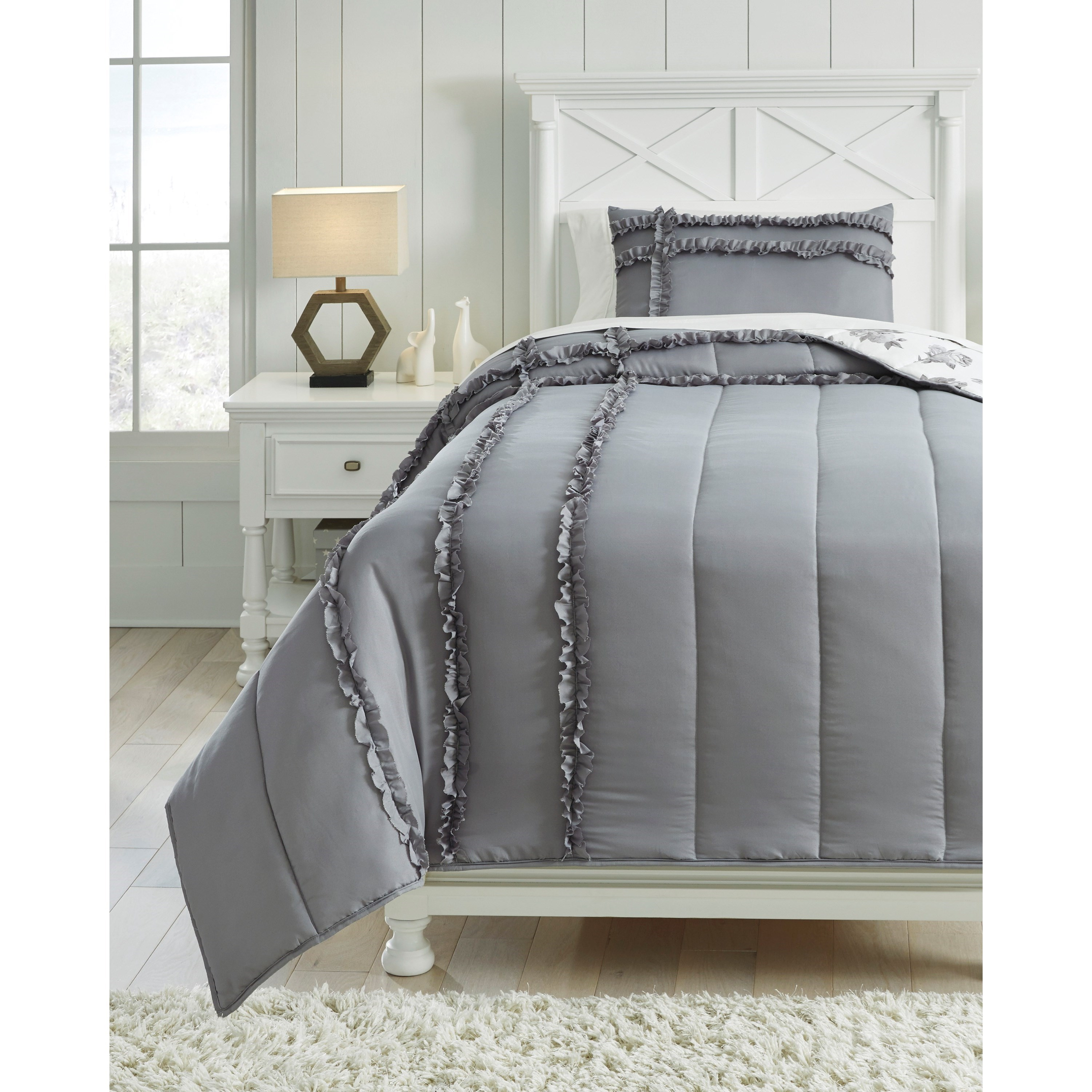 Bedding Sets Twin Meghdad Gray/White Comforter Set by Signature Design by Ashley at Household Furniture