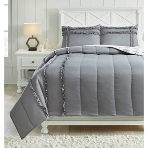 Full Meghdad Gray/White Comforter Set