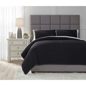 Queen Thornam Black Coverlet Set