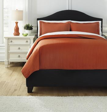 Bedding Sets King Raleda Orange Coverlet Set by Ashley (Signature Design) at Johnny Janosik