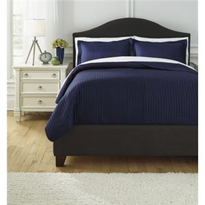 Queen Raleda Navy Coverlet Set