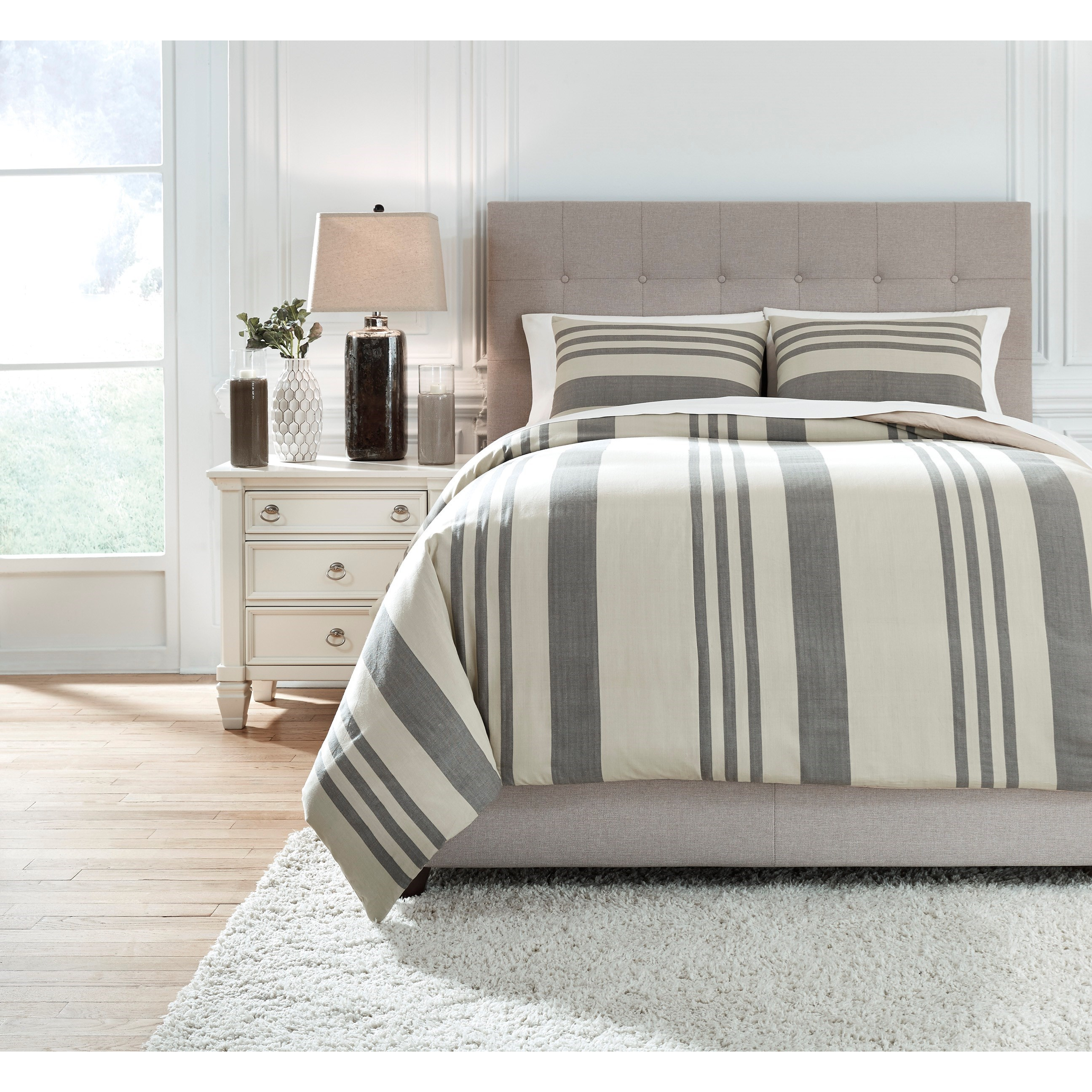 Bedding Sets King Schukei Natural/Charcoal Comforter Set by Signature Design by Ashley at Rife's Home Furniture