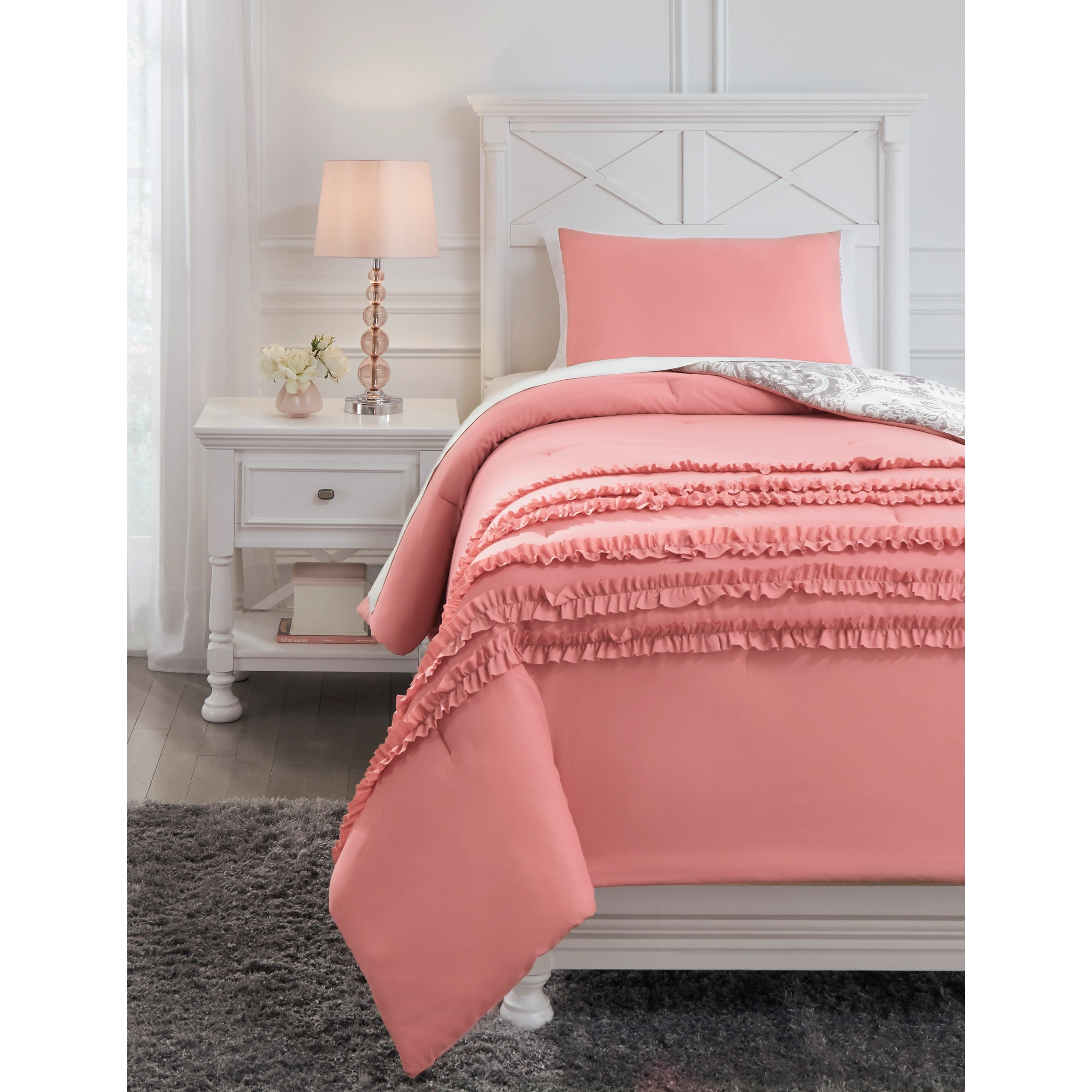 Bedding Sets Twin Avaleigh Pink/White/Gray Comforter Set by Signature Design by Ashley at Household Furniture