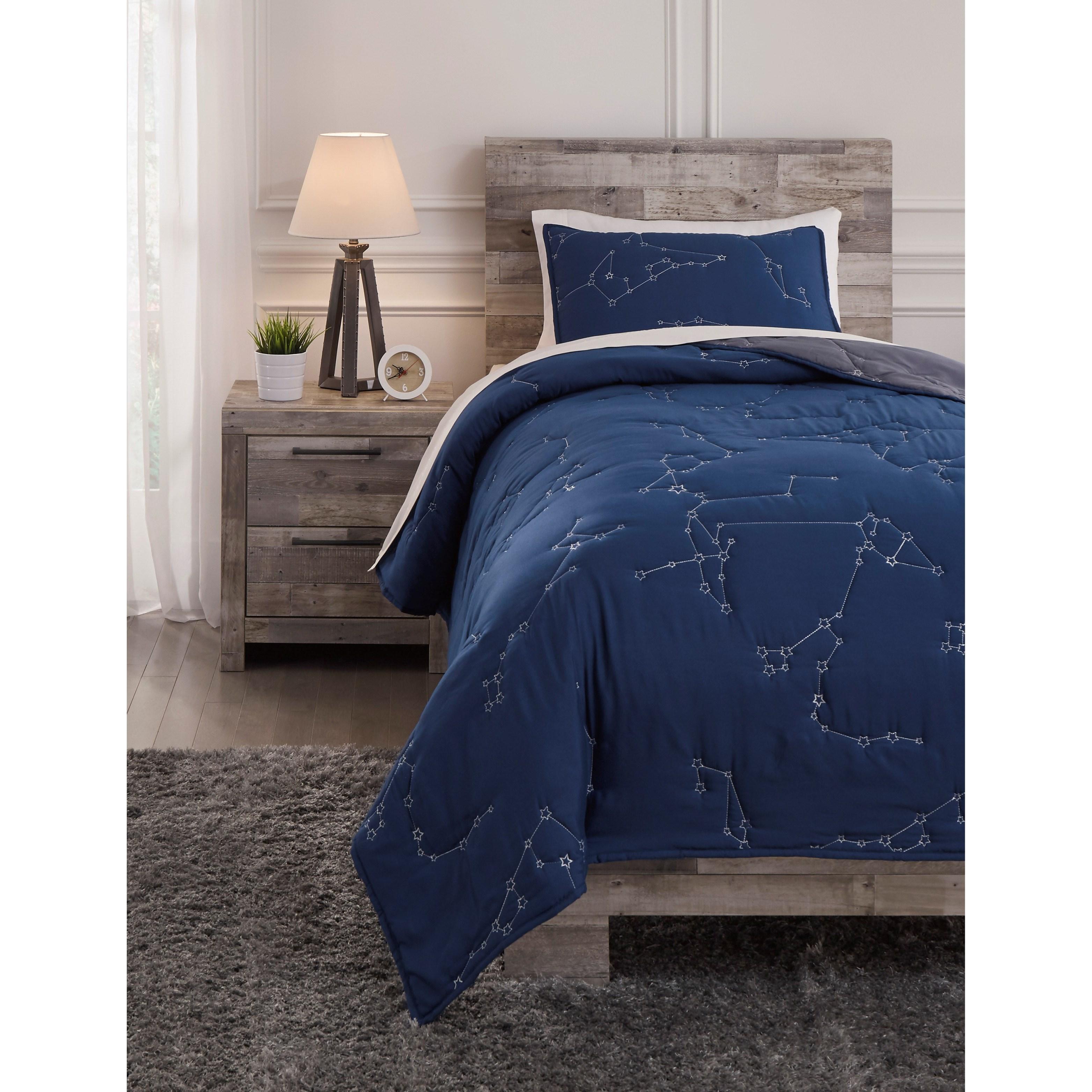 Bedding Sets Ekin Twin Navy/Gray Quilt Set by Ashley (Signature Design) at Johnny Janosik