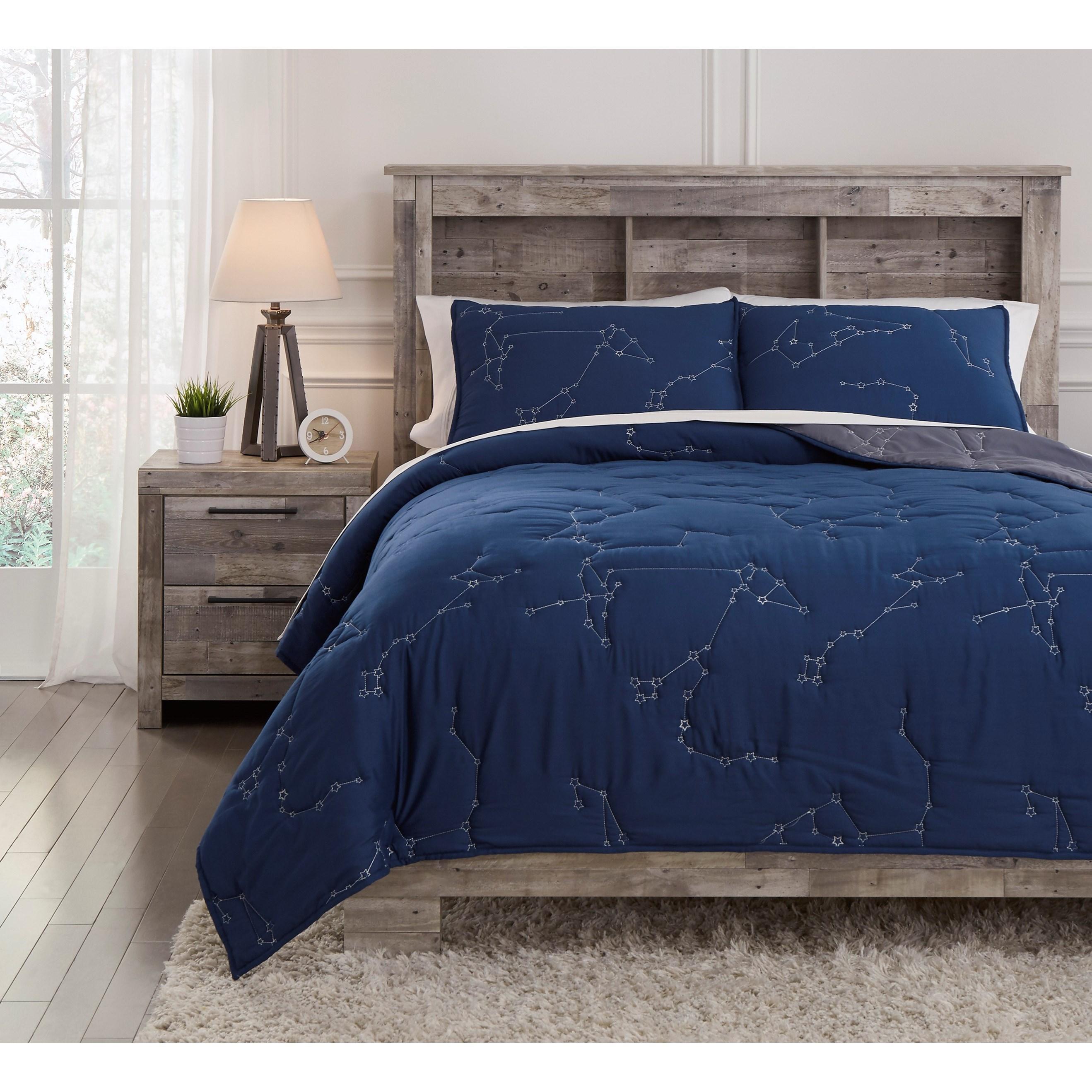 Bedding Sets Ekin Full Navy/Gray Quilt Set by Ashley (Signature Design) at Johnny Janosik