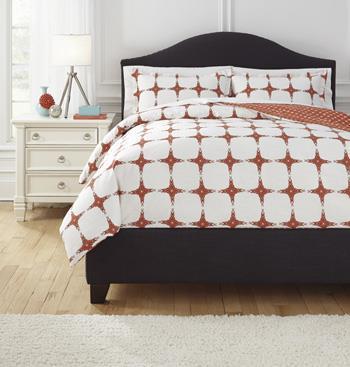 Bedding Sets Queen Cyrun Orange Duvet Set by Ashley Furniture Signature Design at Del Sol Furniture