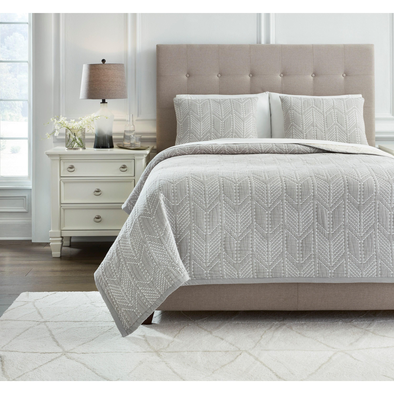 Bedding Sets King Jaxine Gray/White/Cream Coverlet Set by Ashley (Signature Design) at Johnny Janosik