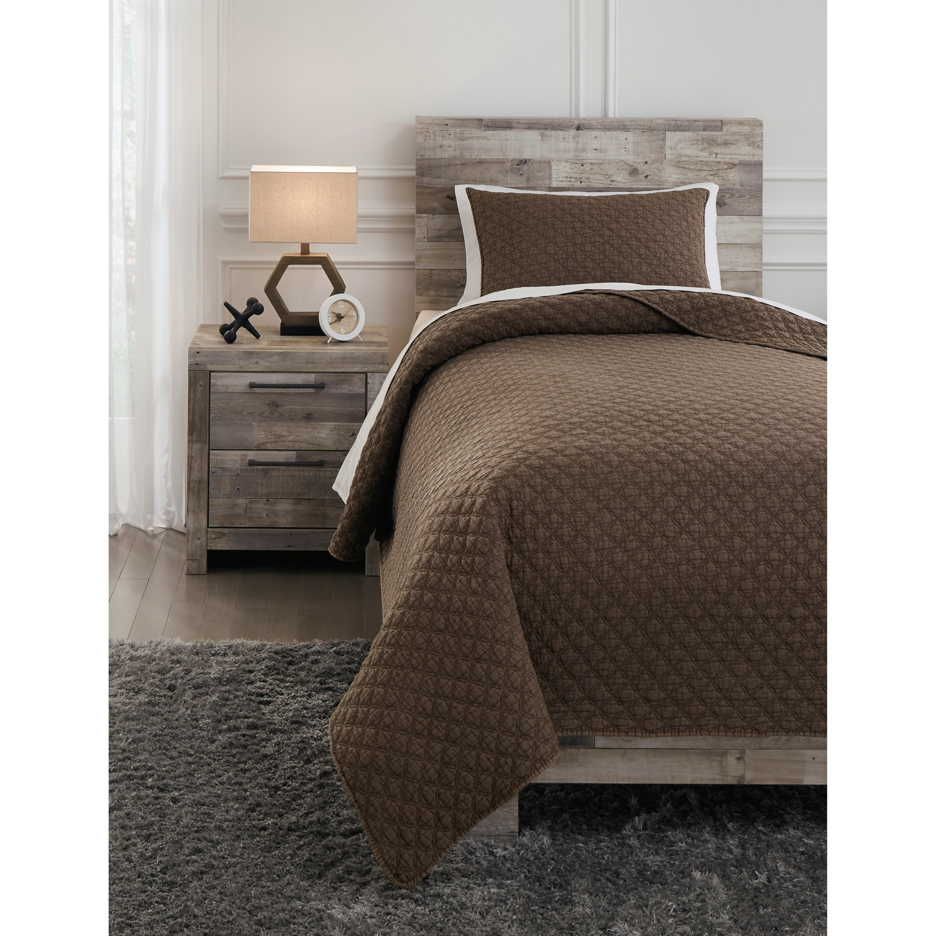 Bedding Sets Twin Ryter Brown Coverlet Set by Signature Design by Ashley at Household Furniture