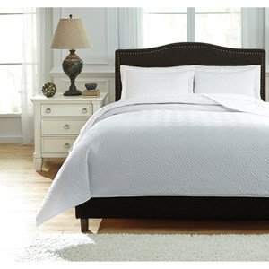 Signature Design by Ashley Bedding Sets Queen Aldis White Coverlet Set