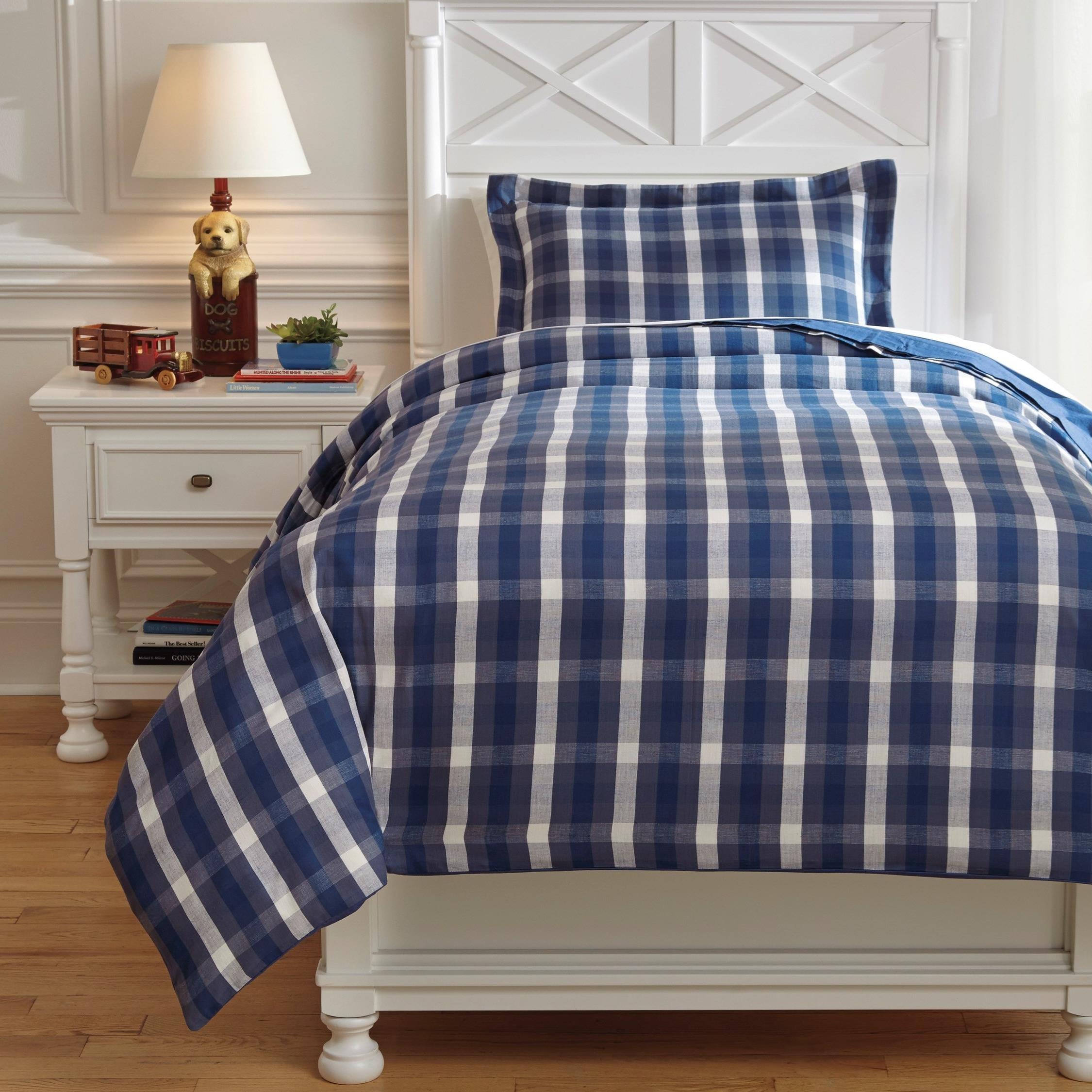 Bedding Sets Twin Baret Blue Duvet Cover Set by Signature Design by Ashley at Lapeer Furniture & Mattress Center