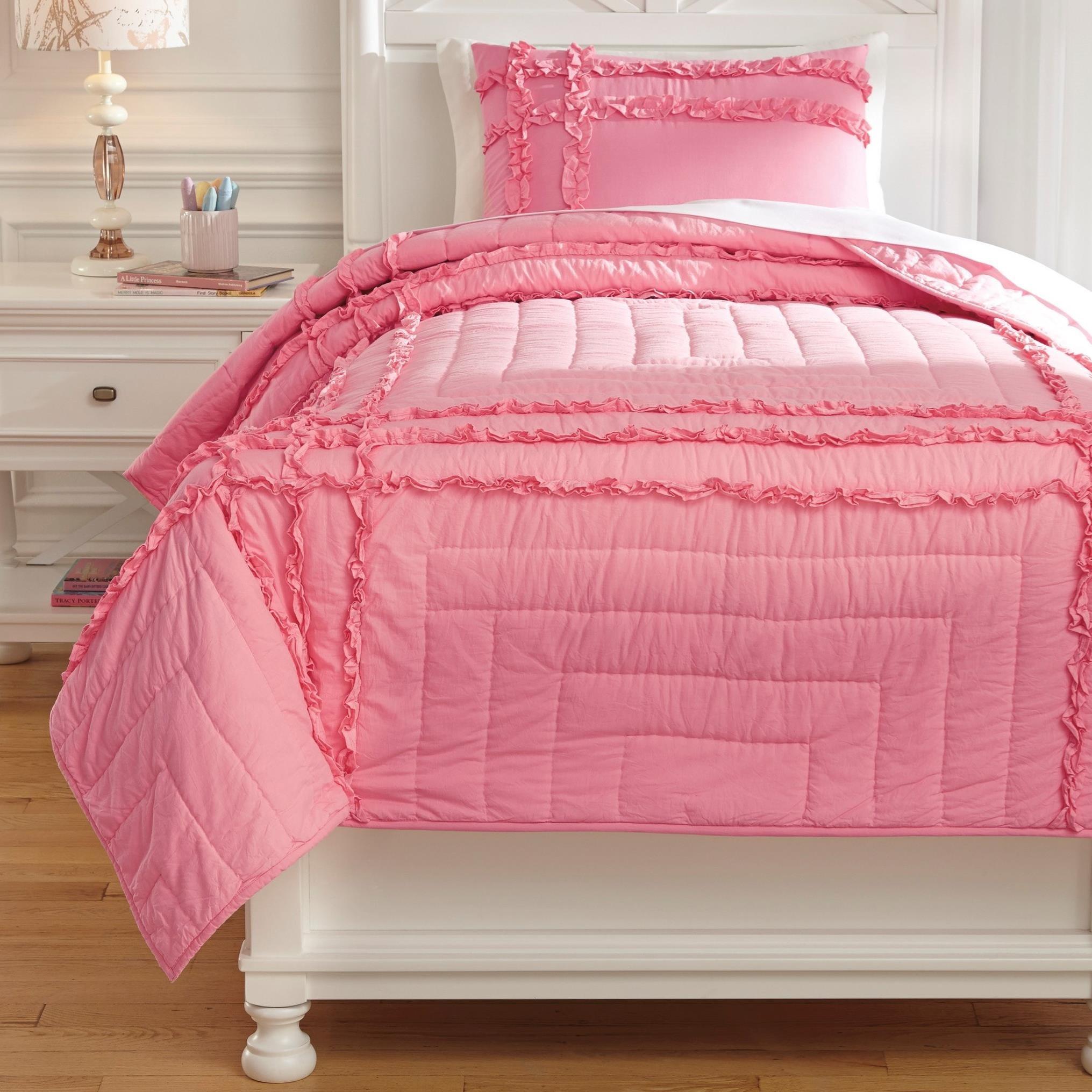 Bedding Sets Twin Megara Pink Quilt Set by Signature Design by Ashley at Lapeer Furniture & Mattress Center