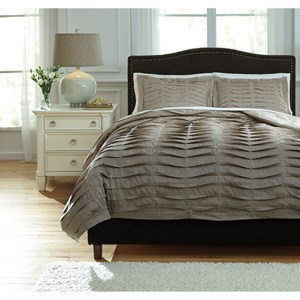 Signature Design by Ashley Bedding Sets Queen Voltos Brown Duvet Cover Set