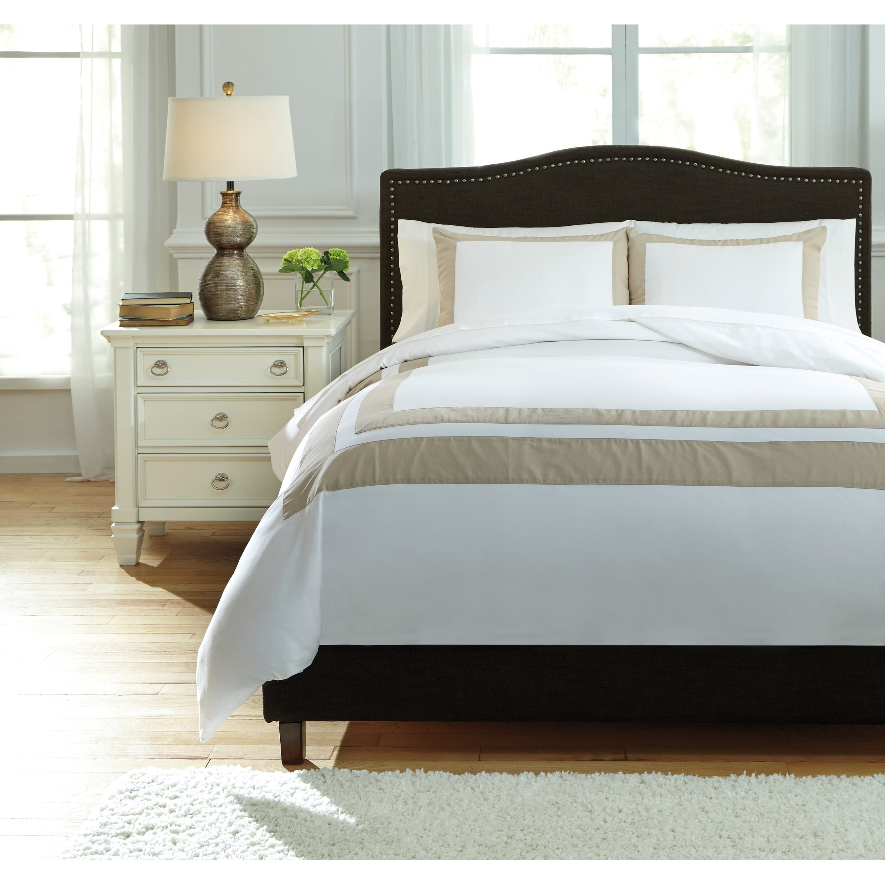 Bedding Sets Queen Andor White Sand Duvet Cover Set by Signature Design by Ashley at Lapeer Furniture & Mattress Center