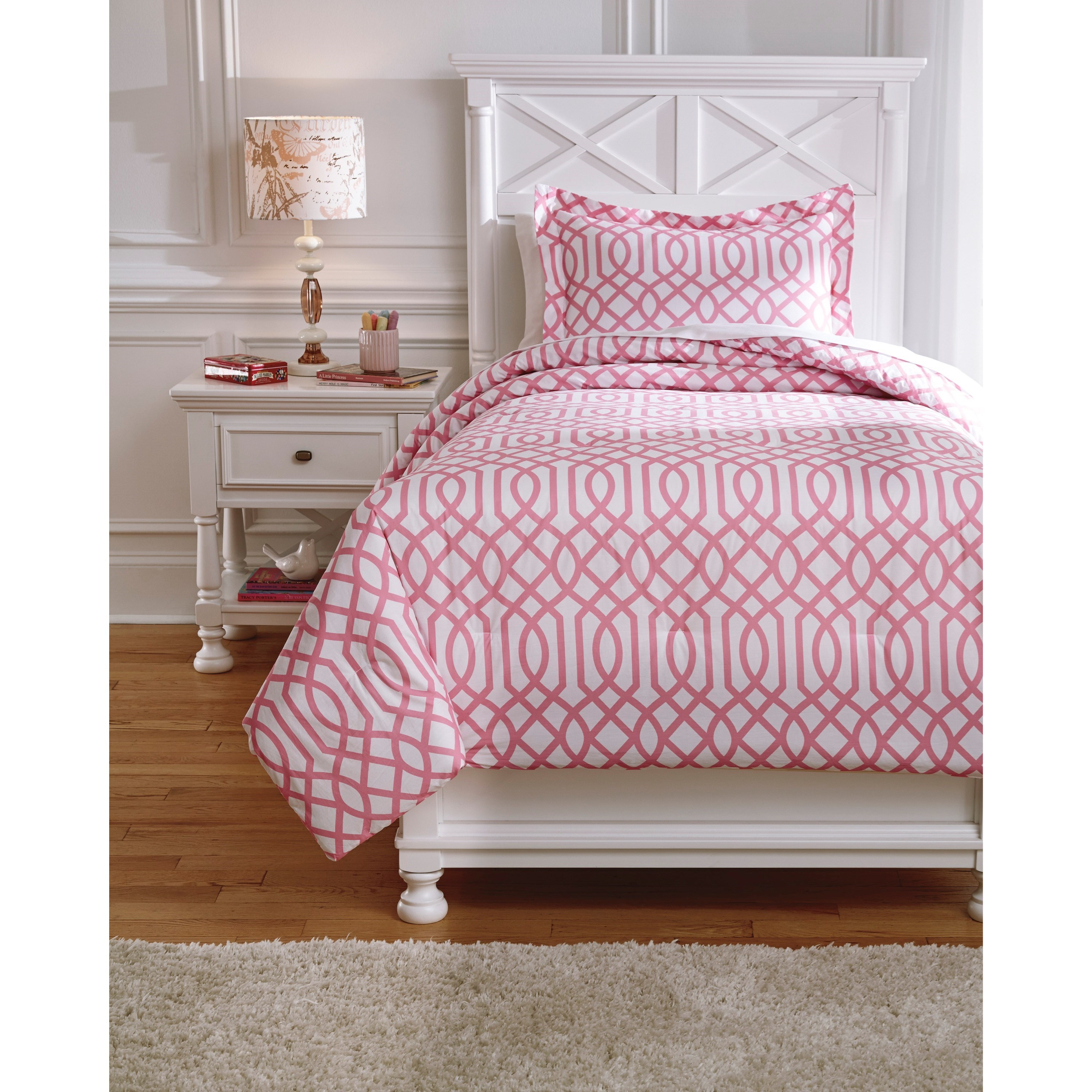 Bedding Sets Twin Loomis Pink Comforter Set by Signature Design by Ashley at Lapeer Furniture & Mattress Center