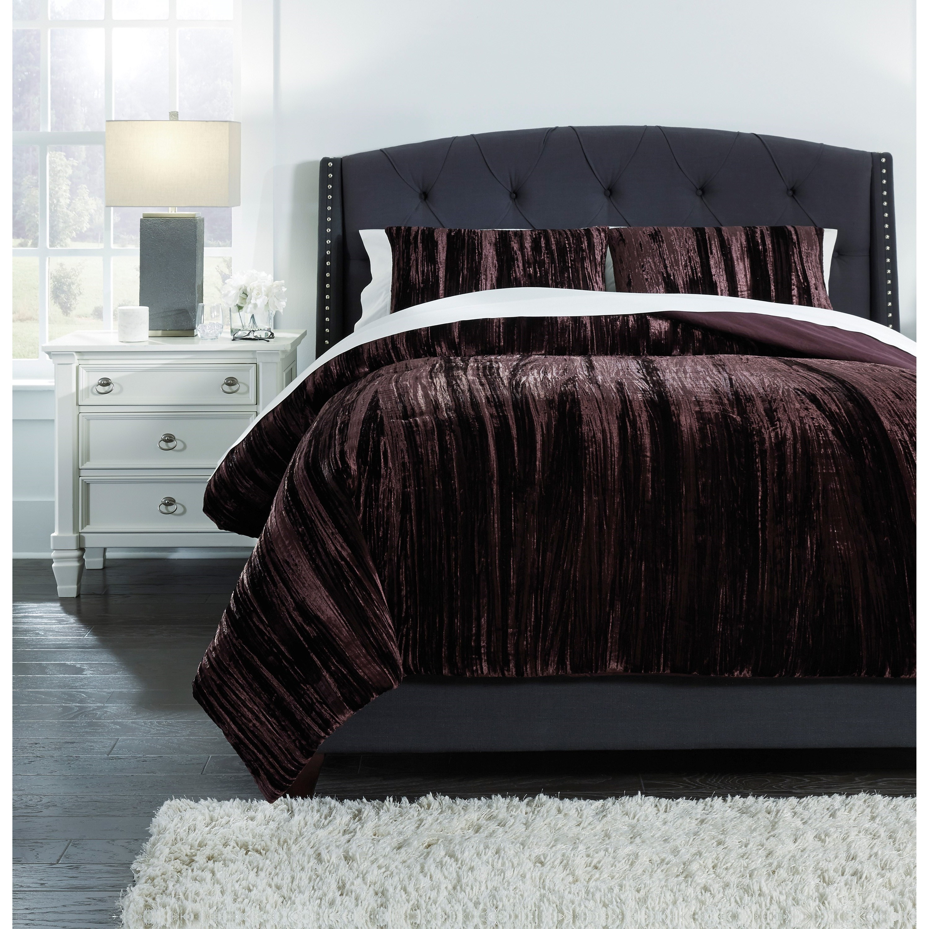 Bedding Sets King Wanete Wine Comforter Set by Signature Design by Ashley at Household Furniture