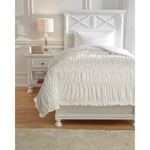 Signature Design by Ashley Bedding Sets Twin Brently White Duvet Cover Set